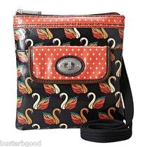 Nwt Fossil Key Per Mini Crossbody Black Orange Swan Design Photo