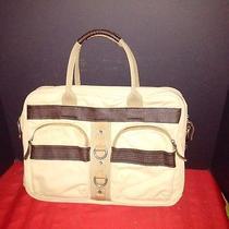 Nwt Fossil Khaki Beige Canvas Messenger Bag Briefcase W/laptop Sleeve &118 Photo