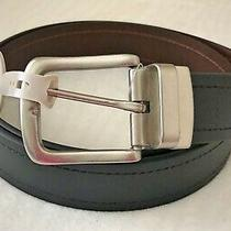 Nwt Fossil Knox Leather Black Brown Reversible Belt Size 3842 Photo