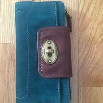 Nwt Fossil Leather and Suede Emma Clutch Wallet Turquoise/blue Swl3101470 Photo