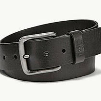 Nwt Fossil Leather Belt Mens Size 38 Black Pebbled Silver Buckle  Photo