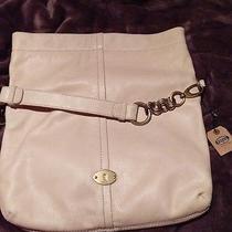 Nwt Fossil Leather Handbag. Fossil Foldover Hobo in Beige Cream   Photo