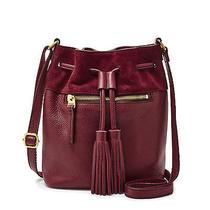 Nwt Fossil Leather Jules Mini Drawstring Satchel Crossbody Bag Wine Red Handbag Photo