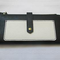 Nwt Fossil Leather Keely Tab Clutch Black & White Wallet Retail 75.00 Photo