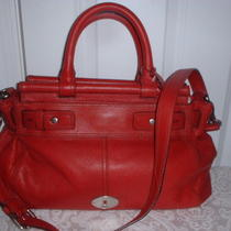 Nwt Fossil Leather Maddox Bar Satchel Handbag  Claret Red Photo