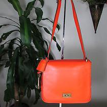 Nwt Fossil Leather Memoir Small Flap Crossbody Bag With Key Fob Bright Orange Photo