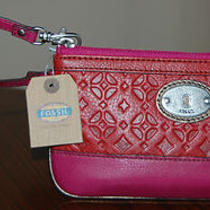 Nwt Fossil Leather Perfect Signature Wristlet Red Multi Receipt Photo