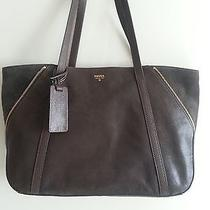 Nwt Fossil Leather / Suede Gwen Dark Brown Shopper Tote Bag.  Msrp 278. Photo