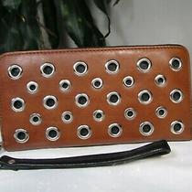 Nwt Fossil Leather Sydny Nvl Zip Clutch Wristlet Wallet Brown Photo