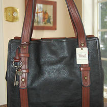 Nwt Fossil Leather Vri Vintage Reissue N/s Tote Black Brown Receipt Photo