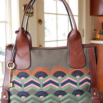 Nwt Fossil Leather Vri Vintage Reissue Top Zip Satchel Embroidered Multi Receipt Photo