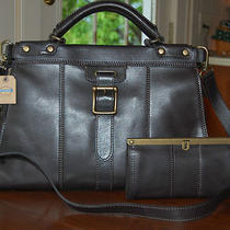 Nwt Fossil Leather Vrv Vintage Revival Satchel and Frame Clutch Black Dust Bag Photo