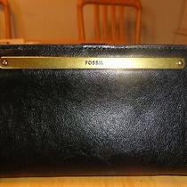Nwt Fossil Liza Slim Bifold Leather Black Wallet Photo
