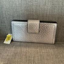 Nwt Fossil Logan Rfid Tab  Metallic Silver Leather Wallet Sl6304040 Photo