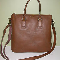 Nwt Fossil Lucy Lsr Tote Bag Cognac Brown Leather Retail 278 Photo