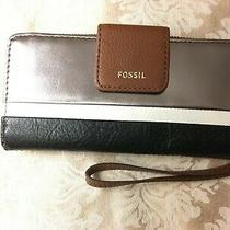 Nwt Fossil Madison Zip Clutch Silver Black Multi Wallet Wristlet - Swl2272008 Photo