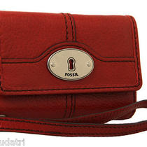 Nwt Fossil Marlow Phone Wristlet Claret Red Leather  Sl3297 I-Phone 3/4/4s Photo