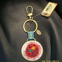Nwt Fossil Medallion Circle With Birds Purse Charm Key Chain Fob Brass Tone Photo