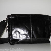 Nwt Fossil Men Black Leather Jackson Ew Laptop Messenger Crossbody Bag Handbag Photo