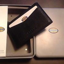 Nwt Fossil Men's Black Leather Omega Card Case Photo