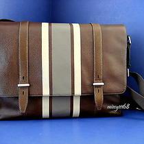 Nwt Fossil Men's Kent Leather Messenger Brown Stripe W/silvertone Hardware Photo