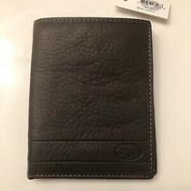 Nwt Fossil Mens Lufkin Passport Case Wallet Leather Dark Brown Multi Pocket Photo