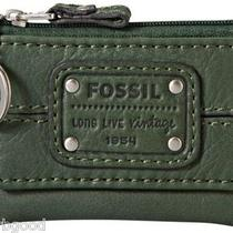 Nwt Fossil Mercer Flap Front Zip Coin  Key Ring Dark Forest Green Leather 25 Photo