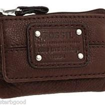 Nwt Fossil Mercer Flap Front Zip Coin  Key Ring Espresso Dark Brown Leather 25 Photo