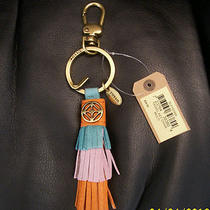Nwt Fossil Multi Color Leather Tassel Purse Charm Key Chain Fob Brass Tone Ring Photo