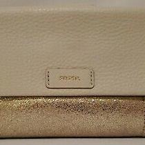 Nwt Fossil Pale Metallic Gold Leather Ellis Clutch/wallet See Details/flaws Photo