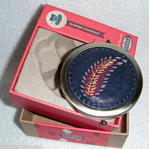 Nwt Fossil Penelope Compact Mirror Navy Blue Boxed Photo