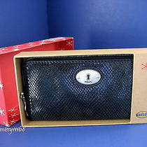 Nwt Fossil Perfect Black Leather Zip Around Wallet Clutch With Fossil Gift Box Photo