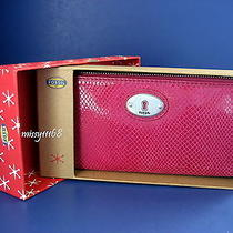 Nwt Fossil Perfect Fuchsia Leather Zip Around Wallet Clutch With Fossil Gift Box Photo