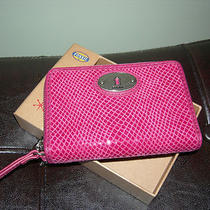 Nwt Fossil Perfect Multi Zip Wallet Fuchsia Leather New Sl4042690 Photo
