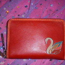 Nwt Fossil Perfect Swan Bird Red Leather Zip Wristlet Wallet Photo