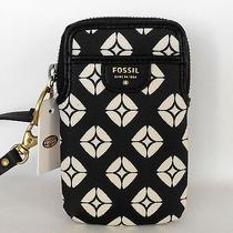 Nwt Fossil Phone Case Camera Wallet Wristlet Logo Black & Ivory  Photo