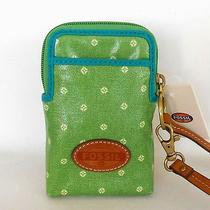 Nwt Fossil Phone Case Camera Wallet Wristlet W/ Logo Light Green Photo