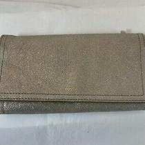 Nwt Fossil Rfid Logan Flap Trifold Leather Wallet in Champagne Photo