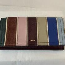 Nwt Fossil Rfid Logan Flap Trifold Leather Wallet in Purple Photo