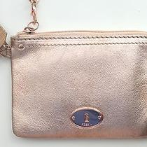 Nwt Fossil Rose Gold Claire Salmon Leather Iphone Android Wristlet Wallet Purse Photo