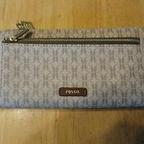 Nwt Fossil Signature Coated Canvas Brown Zip Cluth Wallet Photo