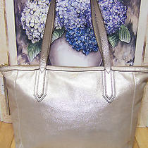 Nwt Fossil Sydney Shopper Tote Purse Beautiful Metallic Shimmery Gold Beauty Photo
