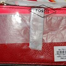 Nwt Fossil Tab Card Case Red Multi Leather I-D Window Msrp 40 Great Gift Photo