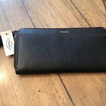 Nwt Fossil Tara Black Leather Zip-Around Clutch Wallet Swl2270001 75 Photo