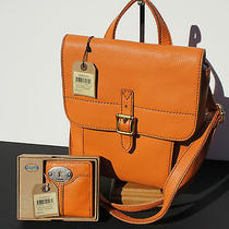 Nwt Fossil Tate Small Flap Lt Orange Shoulder Bag  Free Bonus Matching Wallet Photo
