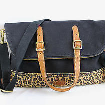 Nwt Fossil Taylor Cheetah Top Zip Leather/canvas Convertible Foldover Tote Bag Photo