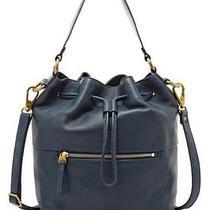 Nwt Fossil Vickery Drawstring Leather Satchel Purse Handbag Heritage Blue Photo