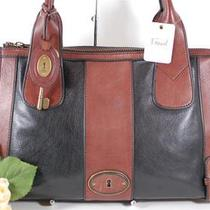 Nwt Fossil Vintage Re-Issue Black & Brown Leather Satchel Handbag Free Ship 228 Photo