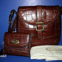 Nwt Fossil Vintage Revival Small Flap Crossbody Bag & Matching Croc Multi Wallet Photo