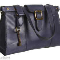 Nwt Fossil Vintage Revival Vrv Navy Blue Leather Satchel (Ew) Zb5410 W/dustcover Photo